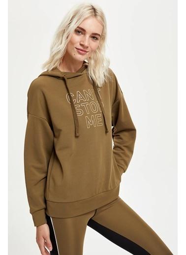 Defacto –Fit Slogan Baskılı Kapüşonlu Sweatshirt Yeşil
